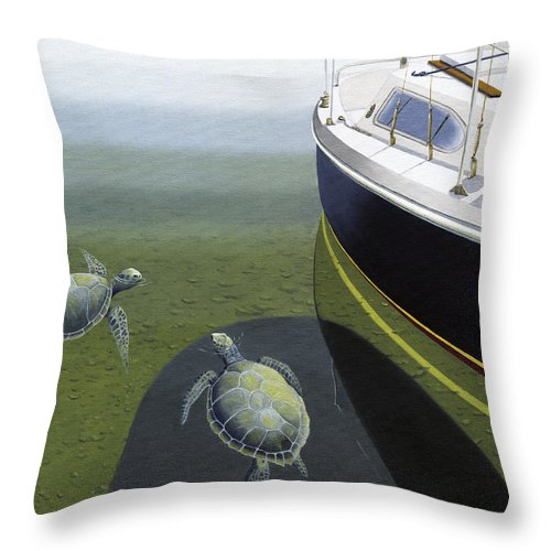 Sail Boat Throw Pillow featuring the painting The Curiosity Of Sea Turtles by Gary Giacomelli