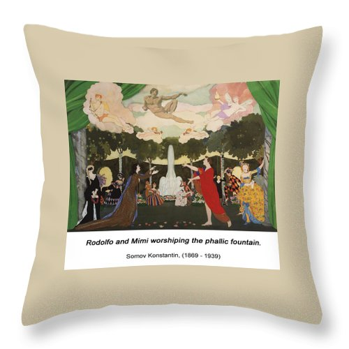 Altered Art Throw Pillow featuring the digital art The Curtain Sketch For The Free Theater In Moscow by John Saunders