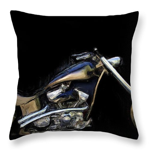 Motorcycle Art Throw Pillow featuring the painting The Custom Rocker by Wayne Bonney