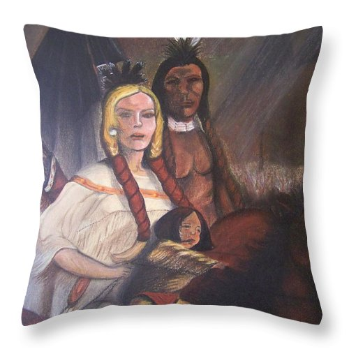 Artwork Throw Pillow featuring the painting The Cynthia Ann Parker Family by Laurie Kidd