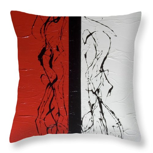 Red Throw Pillow featuring the painting The Dance by Carolyn Repka
