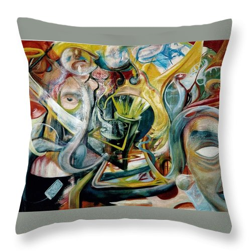 Jester Throw Pillow featuring the painting The Danger In Joy by Will Le Beouf