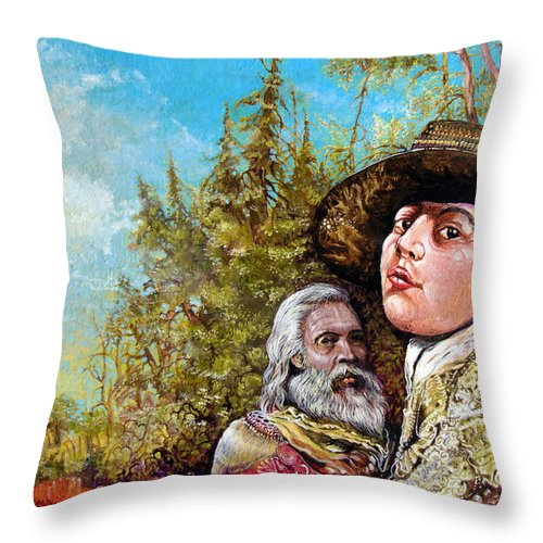 Surrealism Throw Pillow featuring the painting The Dauphin And Captain Nemo Discovering Bogomils Island by Otto Rapp