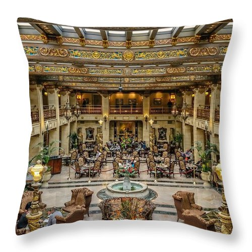 Davenport Hotel Throw Pillow featuring the photograph The Davenport by Philip Kuntz