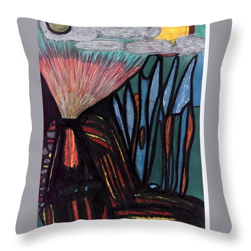 Multicultural Nfprsa Product Review Reviews Marco Social Media Technology Websites \\\\in-d�lj\\\\ Darrell Black Definism Artwork Throw Pillow featuring the drawing The Dawn Of Formation by Darrell Black