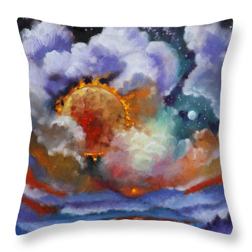 Universe Throw Pillow featuring the painting The Day The Sun Stood Still by John Lautermilch