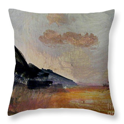 Gouache Abstract Landscape Painting Throw Pillow featuring the painting The Day's Glow by Nancy Kane Chapman