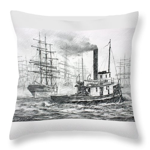 Tugboat Fine Art Print Throw Pillow featuring the drawing The Days Of Steam And Sail by James Williamson