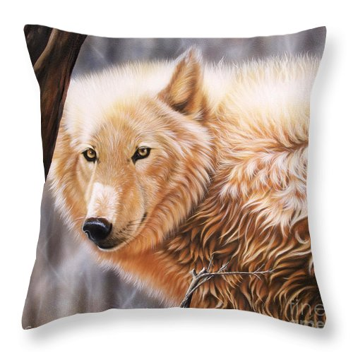 Acrylic Throw Pillow featuring the painting The Daystar II by Sandi Baker