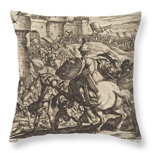 Throw Pillow featuring the drawing The Death Of Abimelech by Antonio Tempesta