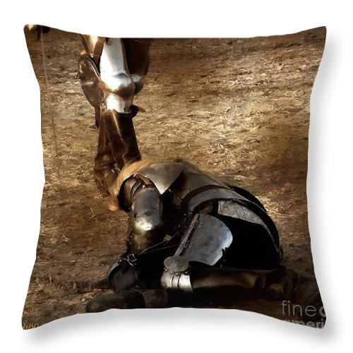 Arthurian Throw Pillow featuring the painting The Death Of Colgrin by RC DeWinter