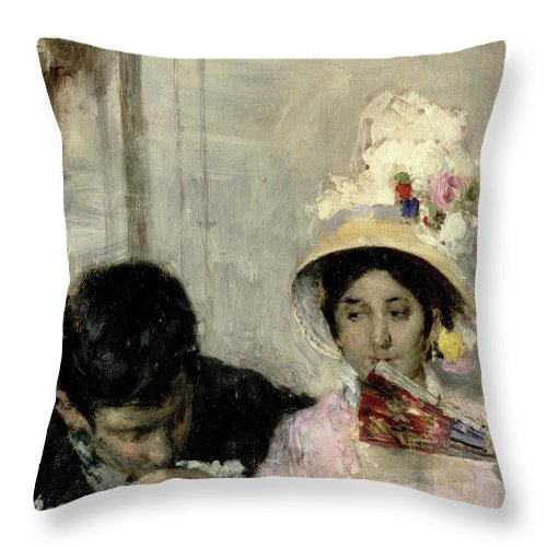 The Declaration (oil On Canvas) By Giacomo Favretto (1849-87) Throw Pillow featuring the painting The Declaration by Giacomo Favretto