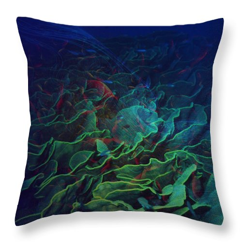 Ocean Throw Pillow featuring the digital art The Deep by Barbara Berney