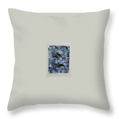 Monotype Throw Pillow featuring the mixed media The Deep Sea by Cori Solomon