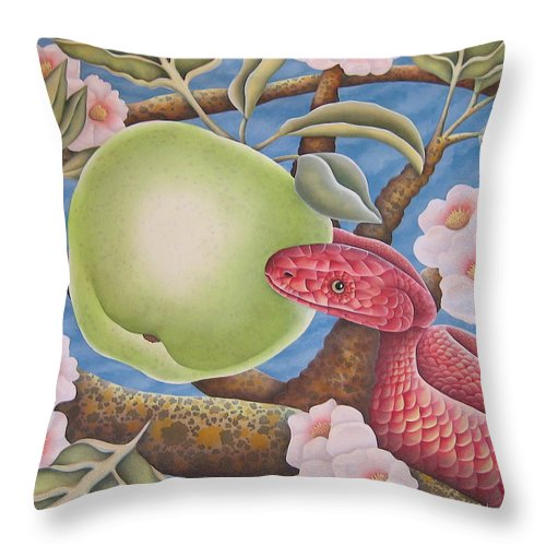 Religious Throw Pillow featuring the painting The Devil And Granny Smith by Jeniffer Stapher-Thomas