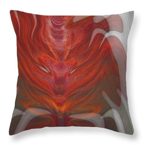Abstract Throw Pillow featuring the digital art The Devil Inside by Linda Sannuti