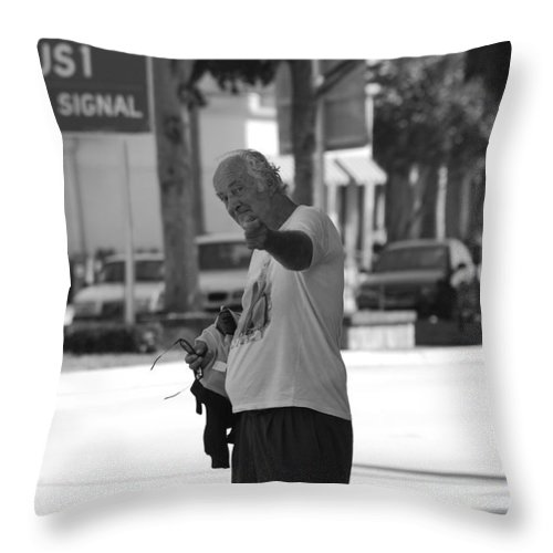 Black And White Throw Pillow featuring the photograph The Devil Man by Rob Hans