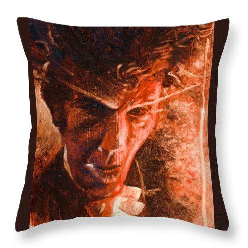 Tom Waits Throw Pillow featuring the painting The Devil Waits by Ken Meyer jr