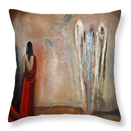 Angels Throw Pillow featuring the painting The Devine Messenger by Niki Sands