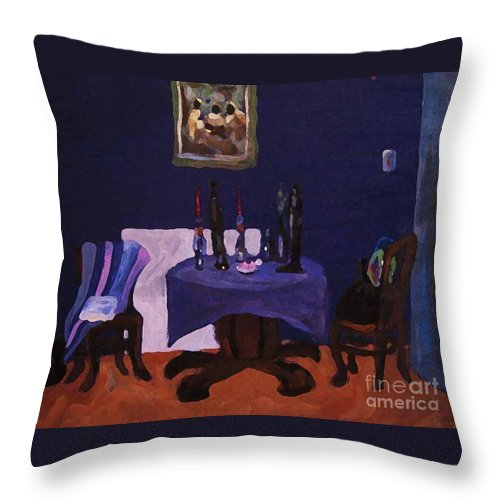 Talbe Chairs Dining Room Candles Blue Painting Throw Pillow featuring the painting The Dining Room by Reb Frost
