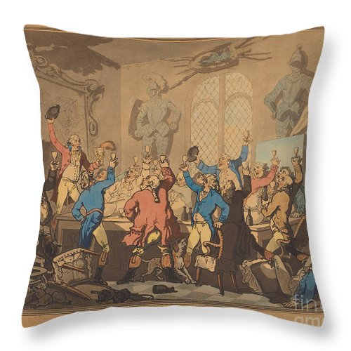 Throw Pillow featuring the drawing The Dinner by Thomas Rowlandson