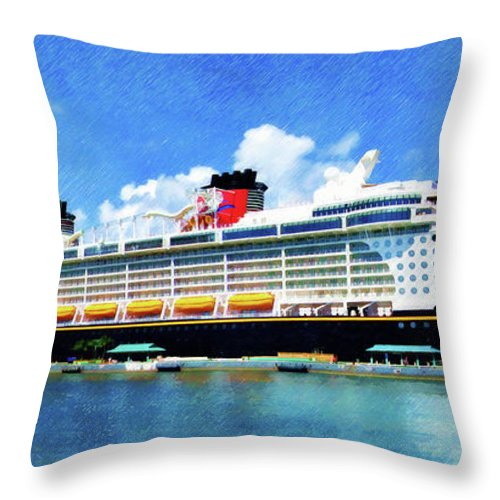 Disney Dream Throw Pillow featuring the painting The Disney Dream in Nassau by Sandy MacGowan