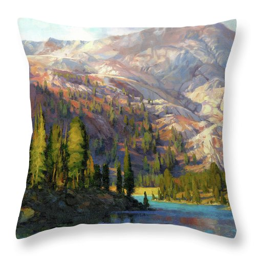 Mountain Throw Pillow featuring the painting The Divide by Steve Henderson