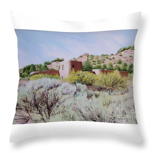 Usa Throw Pillow featuring the painting The Dixon House by Mary Rogers