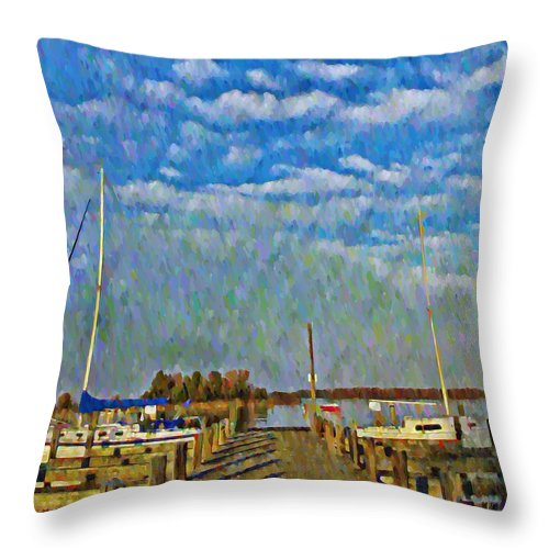 Chesapeake Throw Pillow featuring the photograph The Dock Of The Bay by Bill Cannon