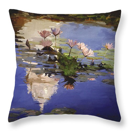 Water Lilies Throw Pillow featuring the painting The Dome - Water Lilies by Betty Jean Billups