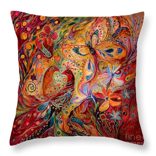 Original Throw Pillow featuring the painting The Domination Of Red by Elena Kotliarker