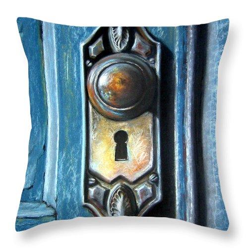 Door Knob Throw Pillow featuring the painting The Door Knob by Leyla Munteanu