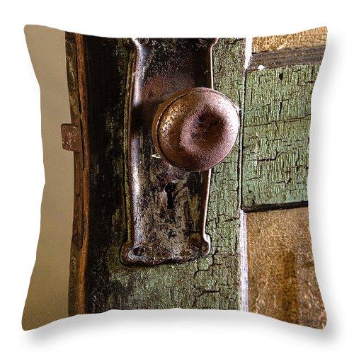 Door Throw Pillow featuring the photograph The Door Knob by Linda McRae