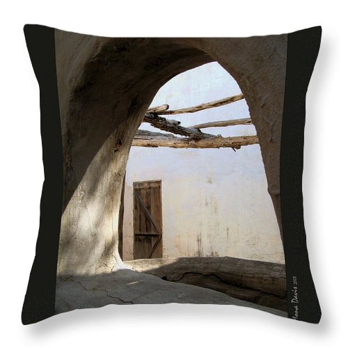 The Alamo Throw Pillow featuring the photograph The Door by Mona Davis