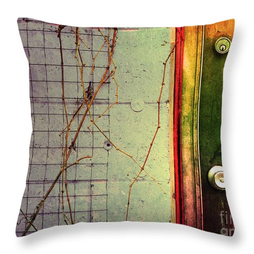 Weeds Throw Pillow featuring the photograph The Door The Wall And The Weeds by Tara Turner