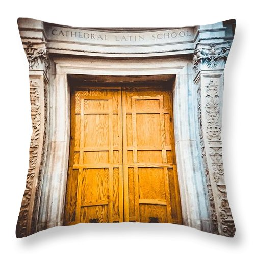 Entrance Throw Pillow featuring the photograph The Doors Of Cls by Connie Lasseigne