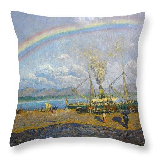 The Downpour. Santona Bay By Dario De Regoyos Throw Pillow featuring the painting The Downpour. Santona Bay By Dario De Regoyos, 1900. by Celestial Images