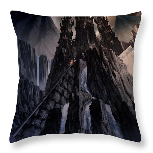 Architectural Throw Pillow featuring the mixed media The Dragon Gate by Curtiss Shaffer