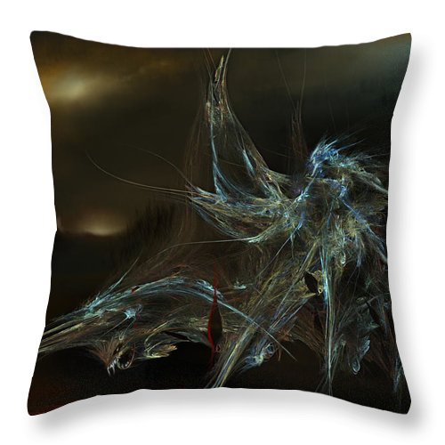 Dragon Warrior Medieval Fantasy Darkness Throw Pillow featuring the digital art The Dragon Warrior by Veronica Jackson