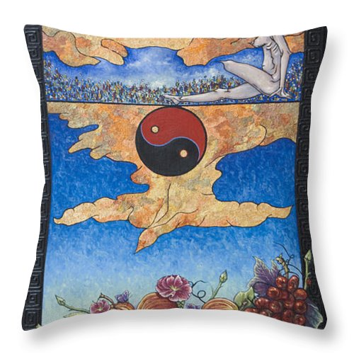 Karma Throw Pillow featuring the painting The Dream by Judy Henninger