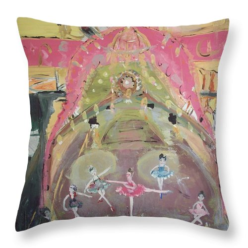 Ballet Throw Pillow featuring the painting The Dress Rehearsel by Judith Desrosiers