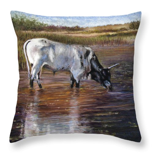 Cow Throw Pillow featuring the pastel The Drink by Susan Jenkins