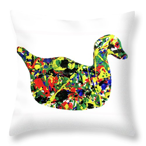 Abstract Throw Pillow featuring the painting The Duck by Ducksy