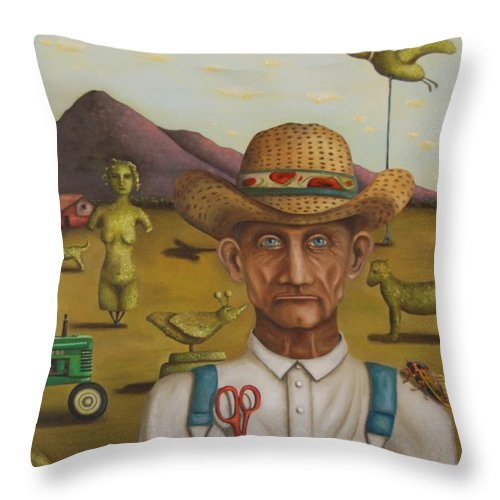Landscape Throw Pillow featuring the painting The Eccentric Farmer by Leah Saulnier The Painting Maniac