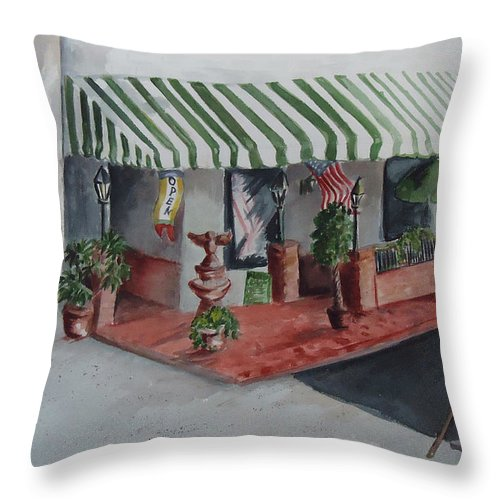 Grill Throw Pillow featuring the painting The El Camino Grill by Charme Curtin