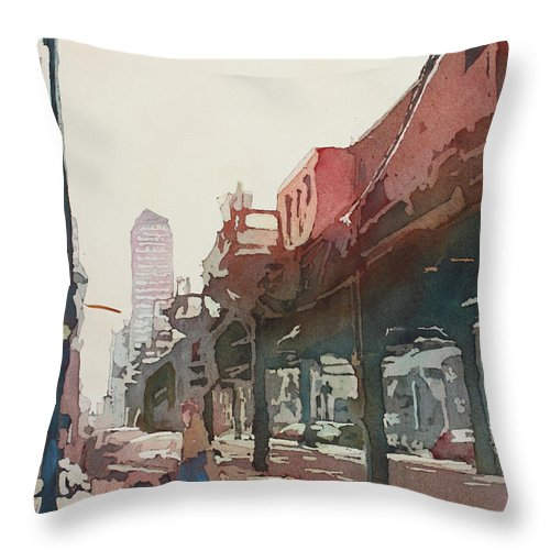 Downtown Throw Pillow featuring the painting The El by Jenny Armitage