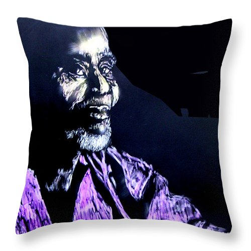 Throw Pillow featuring the mixed media The Elder by Chester Elmore