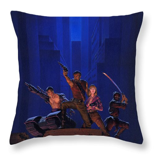 Space Throw Pillow featuring the painting The Eliminators by Richard Hescox