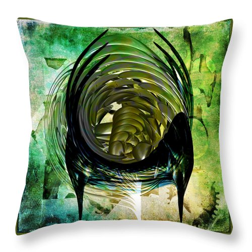 Abstract Throw Pillow featuring the digital art The Emerald Light by Tom Daugherty
