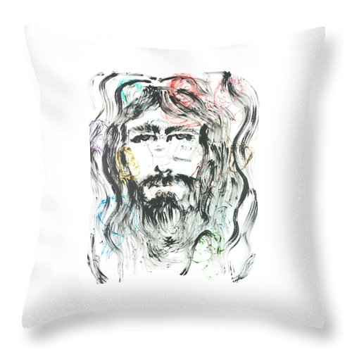 Jesus Throw Pillow featuring the painting The Emotions Of Jesus by Nadine Rippelmeyer